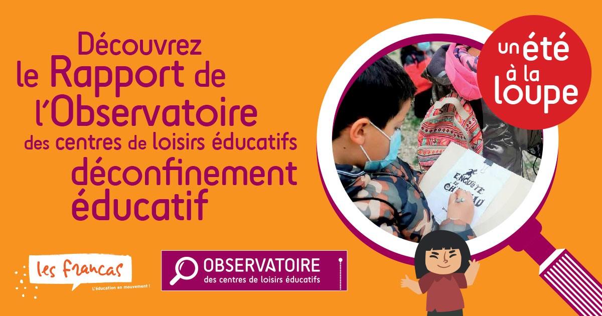 Visuel présentant le rapport 2021 de l'Observatoire des centres de loisirs éducatif - un été à la loupe